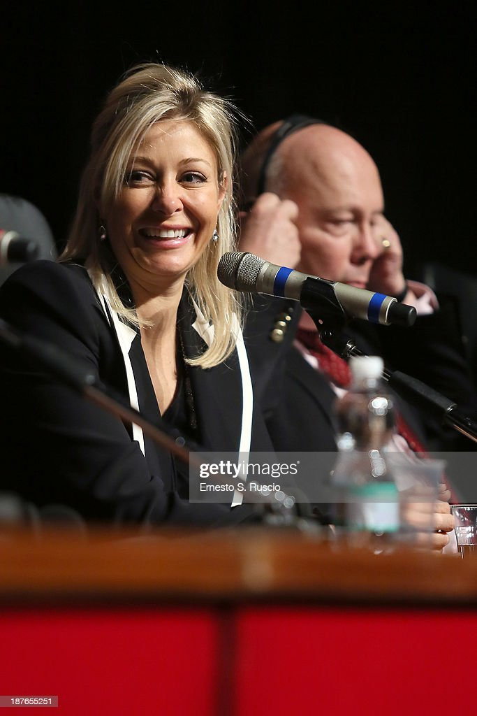 <a gi-track='captionPersonalityLinkClicked' href=/galleries/search?phrase=Nadja+Swarovski&family=editorial&specificpeople=653118 ng-click='$event.stopPropagation()'>Nadja Swarovski</a> and screenwriter Julien Fellowes speak at the 'Romeo And Juliet' Press Conference during the 8th Rome Film Festival at the Auditorium Parco Della Musica on November 11, 2013 in Rome, Italy.