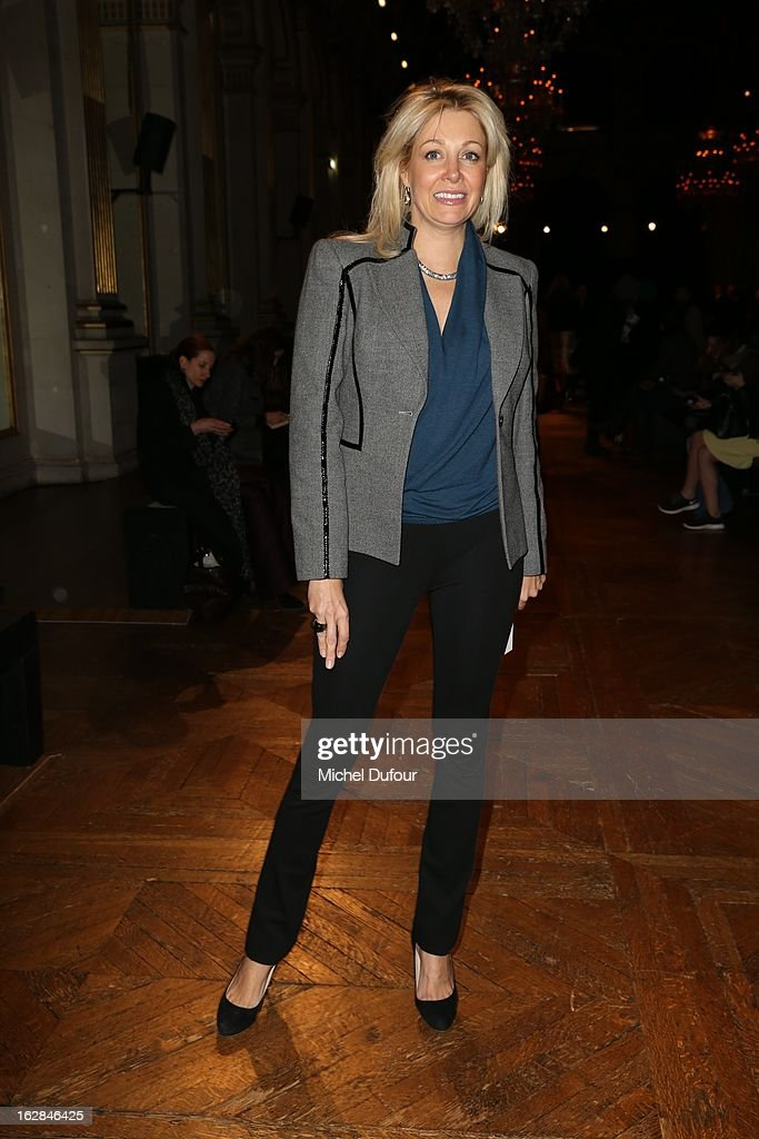 <a gi-track='captionPersonalityLinkClicked' href=/galleries/search?phrase=Nadja+Swarovski&family=editorial&specificpeople=653118 ng-click='$event.stopPropagation()'>Nadja Swarovski</a> attends the Balmain Fall/Winter 2013 Ready-to-Wear show as part of Paris Fashion Week on February 28, 2013 in Paris, France.