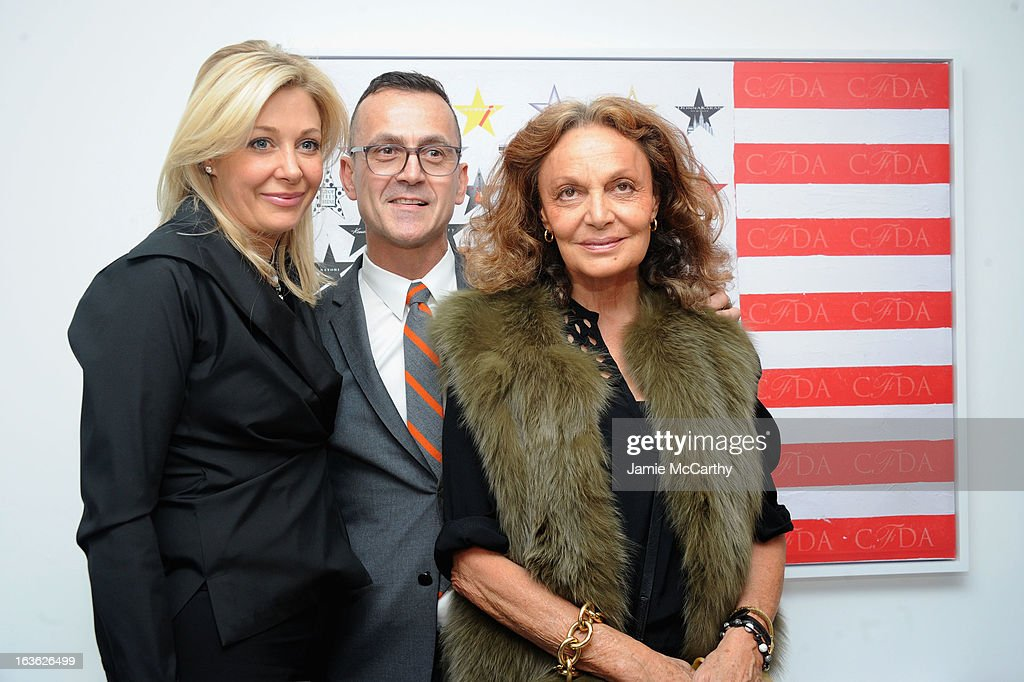 Nadja Swarovski, CEO of CFDA Steven Kolb and Diane von Furstenberg attend the CFDA 2013 Awards Nomination event on March 13, 2013 in New York City.
