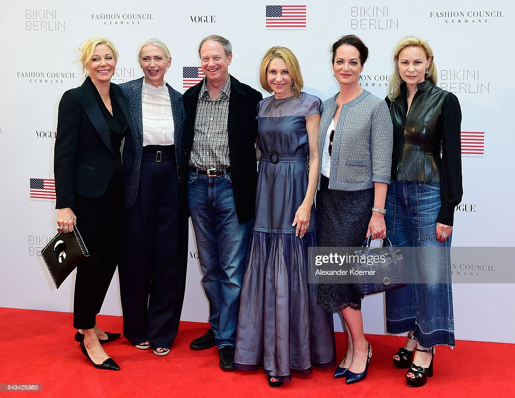 Nadja Swarovski, Christiane Arp, John Emerson, Kimberly Marteau Emerson, Natalia Woerner and Maria-Louise Berg at the Sustainability & Style event at the Embassy of The United States of America on June 28, 2016 in Berlin, Germany.
