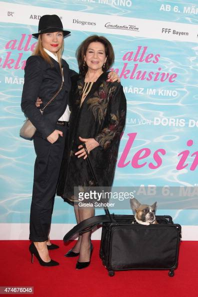 Nadja Uhl Hannelore Elsner and dog Chica attend the German premiere of the film 'Alles Inklusive' at Mathaeser Filmpalast on February 24 2014 in...