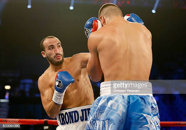 Nadjib Mohammedi throws a left at Oleksandr Gvozdyk during their light heavyweight fight on April 9 2016 at MGM Grand Garden Arena in Las Vegas Nevada