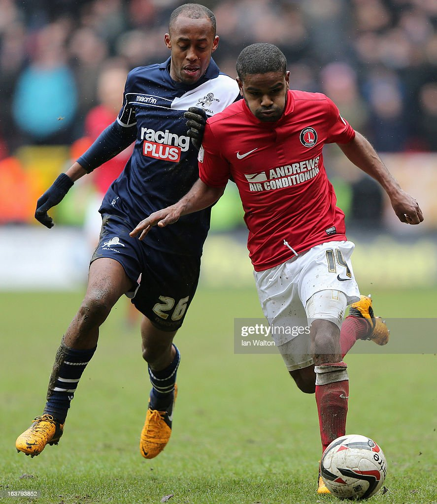 Nadjim Abdou (L) of Millwall tries to tackle Bradley Pritchard of Charlton Athletic during the npower Championship match between Charlton Athletic and Millwall at The Valley on March 16, 2013 in London, England.