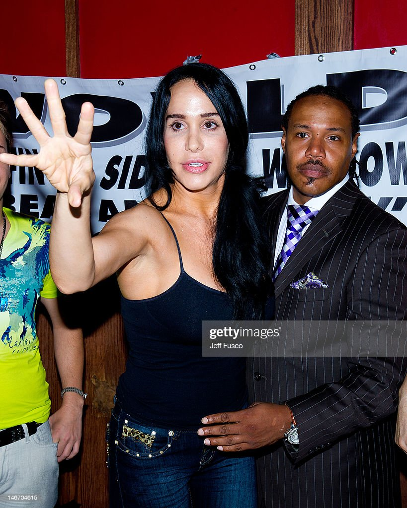 Nadya 'Octomom' Suleman and Sporty Smith attend the Celebrity Pillow Fight Press Conference and Weigh In at the Fox And Hound Pub and Grille on June...