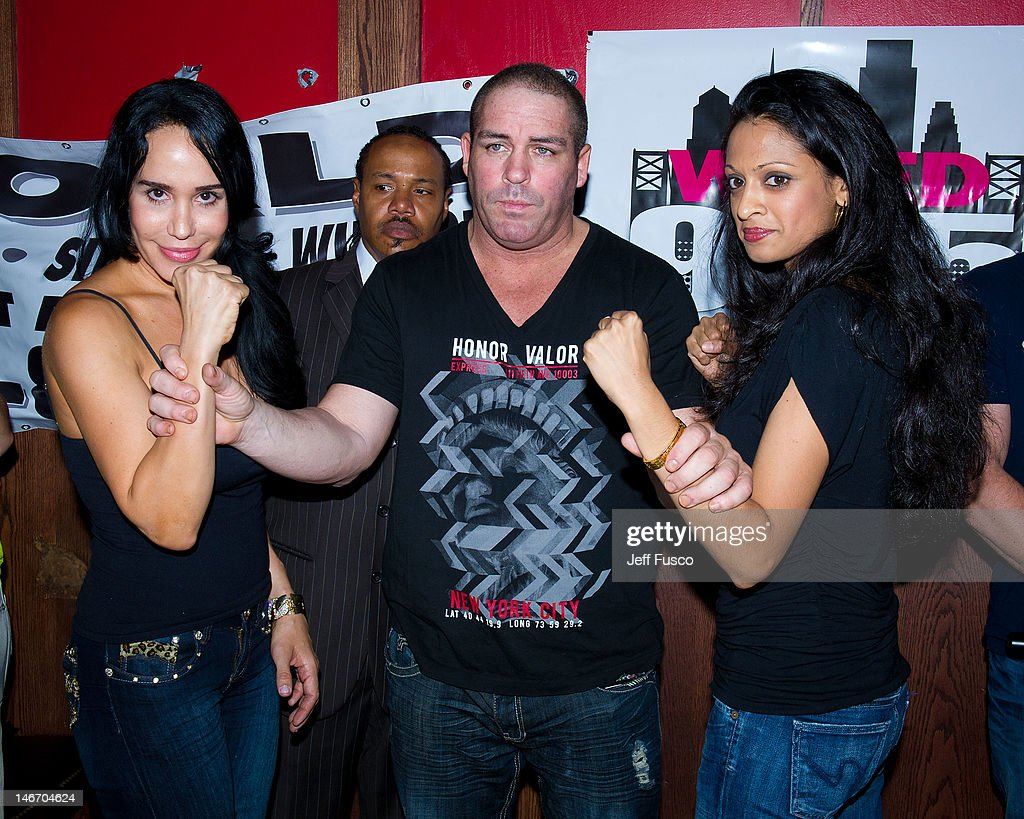 Nadya 'Octomom' Suleman Damon Feldman and radio personality Shila pose at the Celebrity Pillow Fight Press Conference and Weigh In at the Fox And...
