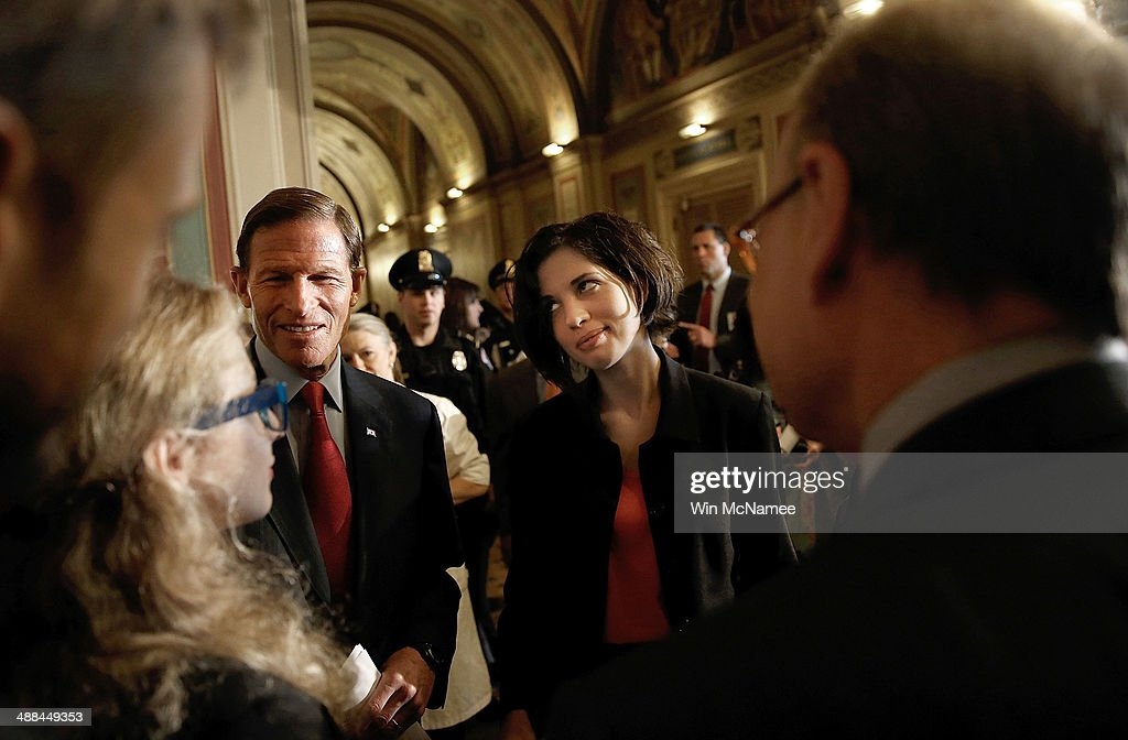 Nadya Tolokonnikova (R) and <a gi-track='captionPersonalityLinkClicked' href=/galleries/search?phrase=Maria+Alyokhina&family=editorial&specificpeople=9133065 ng-click='$event.stopPropagation()'>Maria Alyokhina</a> (L), members of the Russian punk protest group Pussy Riot, speak with Sen. <a gi-track='captionPersonalityLinkClicked' href=/galleries/search?phrase=Richard+Blumenthal&family=editorial&specificpeople=1036916 ng-click='$event.stopPropagation()'>Richard Blumenthal</a> (D-CT) (C) after meeting with U.S. senators at the U.S. Capitol May 6, 2014 in Washington, DC. Sen. Ben Cardin (D-MD), chairman of the U.S. Helsinki Commission said the visit by the band members 'takes place amidst a widening crackdown in Russia as the Kremlin seeks to prevent a Maidan moment from ever happening in Moscow.'