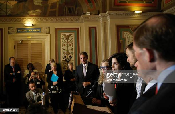 Nadya Tolokonnikova and Maria Alyokhina members of the Russian punk protest group Pussy Riot answer questions after meeting with US senators at the...