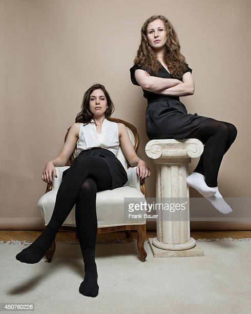 Nadya Tolokonnikova and Masha Alyokhina of the feminist punk rock protest group Pussy Riot are photographed for Sueddeutsche Zeitung magazine in...