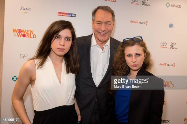 Nadya Tolokonnikova of Pussy Riot and Zona Prava TV personality Charlie Rose and Masha Alekhina of Pussy Riot and Zona Prava attend the 5th Annual...