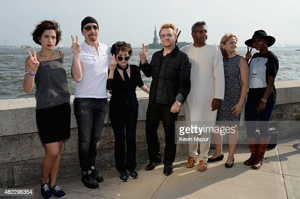 Nadya Tolokonnikova The Edge Yoko Ono Bono Salil Shetty and Melissa MarkViverito attend Amnesty International Tapestry Honoring John Lennon Unveiling...