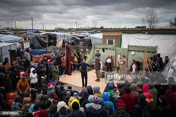 Naeem Hayat playing Hamlet from Shakespeare's Globe performs performs to migrants at the Good Chance Theatre Tent in the Jungle Refugee Camp on...
