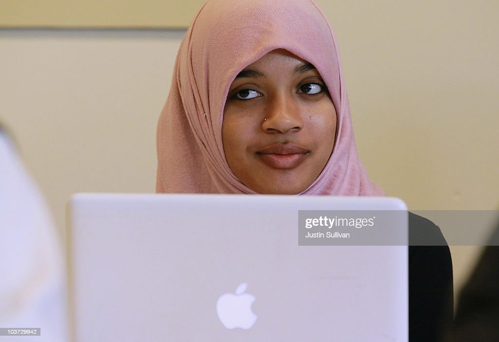 Naeemah Gilchrist (L) works on her computer between classes at Zaytuna College August 30, 2010 in Berkeley, California. Zaytuna College opened its doors on August 24th and hopes to become the first accredited four-year Islamic college in the United States. The school was founded by three Muslim-American scholars and offers degrees in Islamic law, theology and Arabic languages. Fifteen students are enrolled in the inaugural class and the school hopes to increase that number to 2,200 within ten years.