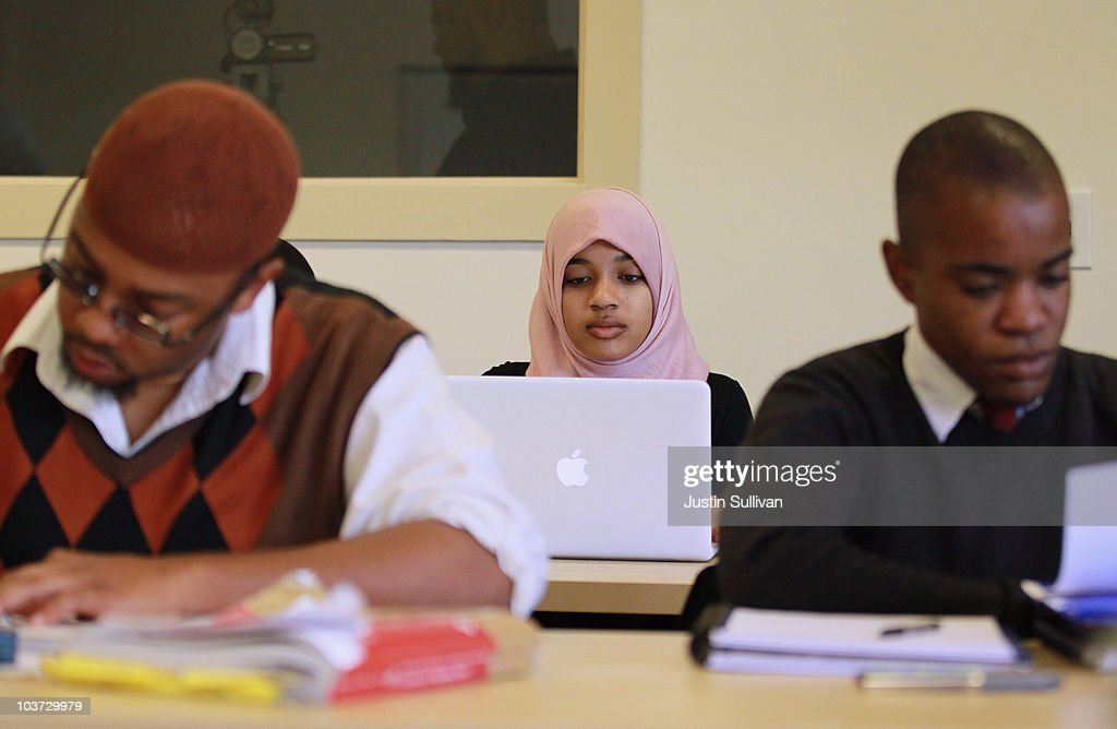 Naeemah Gilchrist (C) works on her computer between classes at Zaytuna College August 30, 2010 in Berkeley, California. Zaytuna College opened its doors on August 24th and hopes to become the first accredited four-year Islamic college in the United States. The school was founded by three Muslim-American scholars and offers degrees in Islamic law, theology and Arabic languages. Fifteen students are enrolled in the inaugural class and the school hopes to increase that number to 2,200 within ten years.