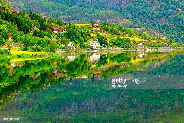Naeroyfjord idyllic fjord landscape reflection, Norwegian fishing village, Norway, Scandinavia