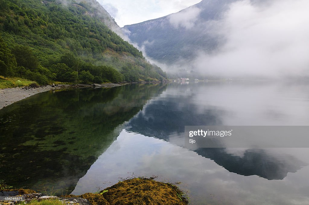 Naeroyfjord morning light : Stock Photo
