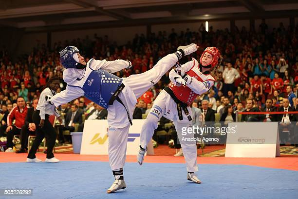 Nafia Kus of Turkey in action against Tina Skaar of Norway during the European Olympic Qualification Tournament Rio 2016 in Istanbul Turkey on...