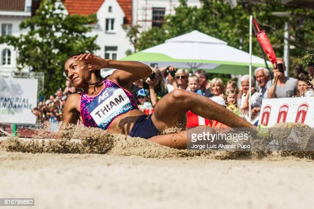 Nafissatou Thiam of Belgium competes in the women Long Jump during the Urban Memorial Van Damme on July 08 2017 at the Grand Plaza in Antwerp Belgium