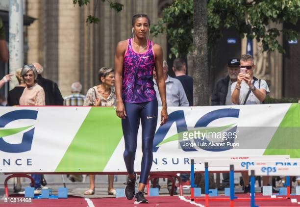 Nafissatou Thiam of Belgium gets ready to compete in the women Long Jump during the Urban Memorial Van Damme on July 08 2017 at the Grand Plaza in...