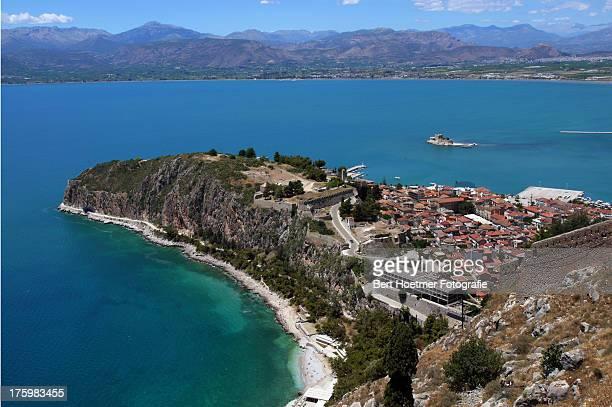 Nafplion on its peninsula in the Argolikos gulf