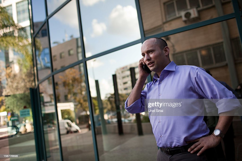 Naftali Bennett Head of HaBayit HaYehudi Party, the Jewish Home party, gives a radio interview over the phone on December 26, 2012 in Tel Aviv, Israel. The religious Jewish Home party (HaBayit HaYehudi) led by Naftali Bennett, are mounting a strong challenge for the right wing vote from Benjamin Netanyahu's Likud party as Israel heads for a general election on January 22.