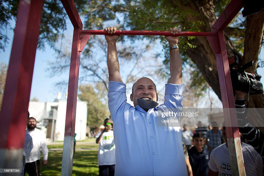 Naftali Bennett Of Right Wing Jewish Home Party Campaigns Ahead of The General Election