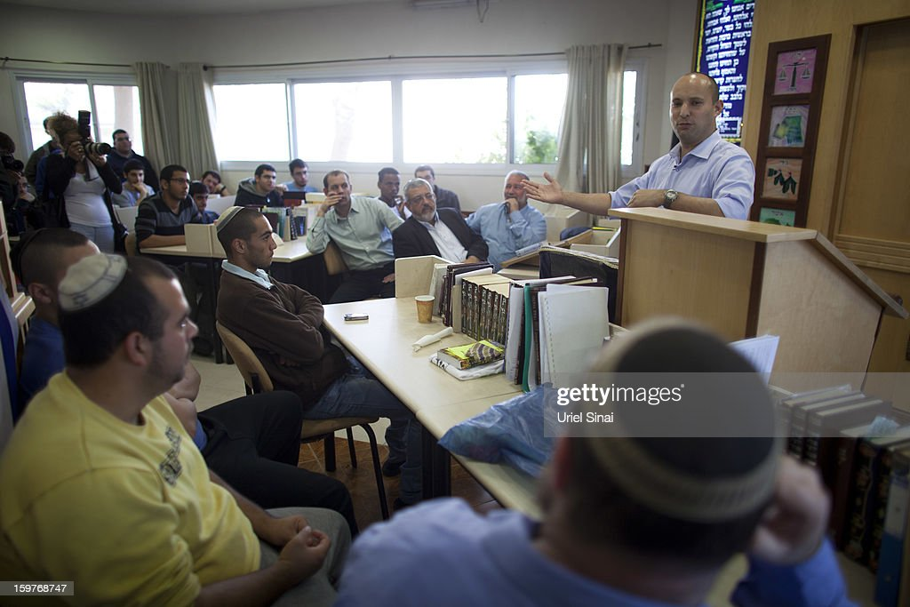 Naftali Bennett, head of HaBayit HaYehudi Party, the Jewish Home party, campaigns at a pre-army training school at the Shapira Center on January 20, 2013 near Ashkelon, Israel. The religious Jewish Home party is challenging Benjamin Netanyahu's Likud party as Israel heads for a general election on January 22.