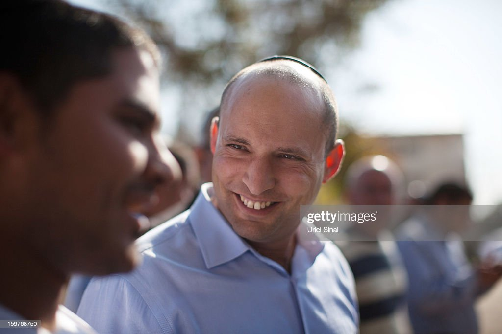 Naftali Bennett, head of HaBayit HaYehudi Party, the Jewish Home party, talks to students at a pre-army training school as he campaigns at the Shapira Center on January 20, 2013 near Ashkelon, Israel. The religious Jewish Home party is challenging Benjamin Netanyahu's Likud party as Israel heads for a general election on January 22.