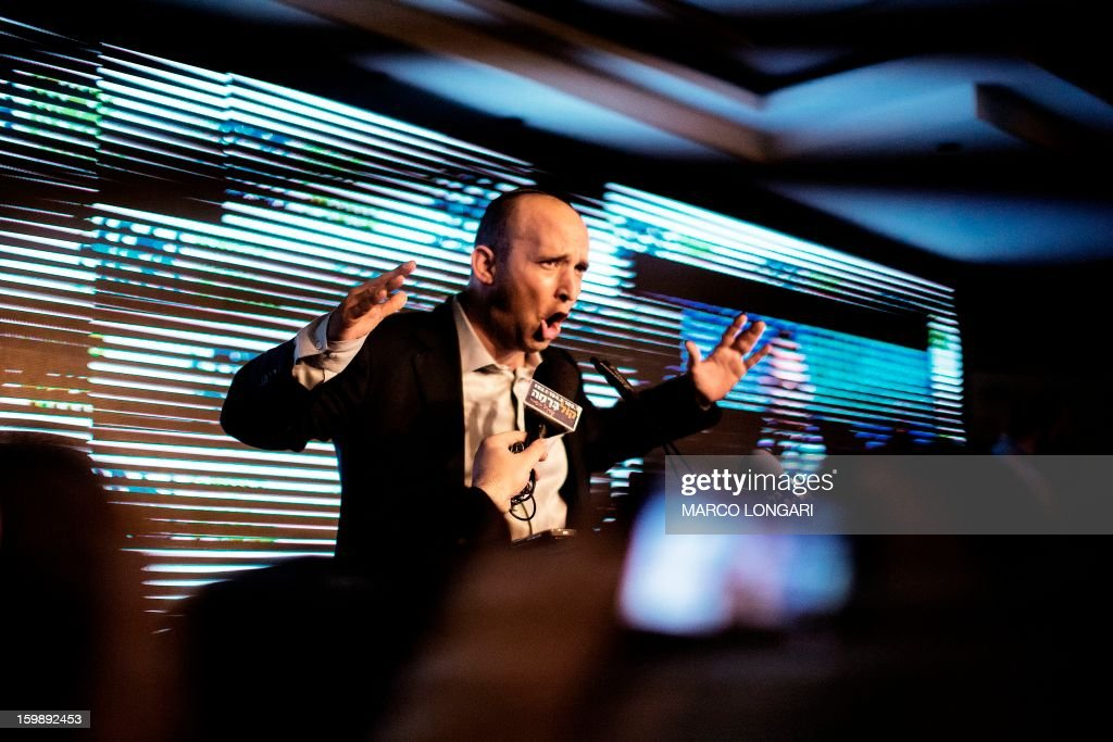 Naftali Bennett, head of the Israeli hard-line national religious party, Jewish Home, addresses supporters at the Kfar Maccabia hotel in Tel Aviv for the celebratory party at the end of the elections on January 22, 2013. Israeli Prime Minister Benjamin Netanyahu said it was necessary to form the 'broadest possible government' after his Likud-Beitenu list won a narrow election victory, with the centrist Yesh Atid in second place.