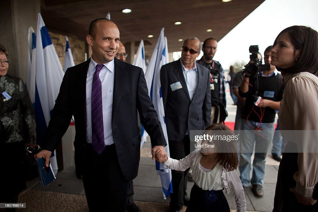 Naftali Bennett, head of the Israeli hardline national religious party the Jewish Home arrives with his wife and daughter to a reception marking the opening of the 19th Knesset (Israeli parliament) on February 5, 2013 in Jerusalem, Israel. The 120 members of the Knesset included a record 48 new law makers.