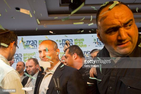 Naftali Bennett leader of the Habayit Hayehudi party greets supporters and activists from his party at a postelection rally on January 22 2013 in...