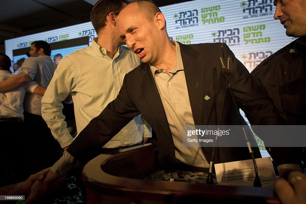 <a gi-track='captionPersonalityLinkClicked' href=/galleries/search?phrase=Naftali+Bennett&family=editorial&specificpeople=6632880 ng-click='$event.stopPropagation()'>Naftali Bennett</a>, leader of the Habayit Hayehudi party (The Jewish Home) greets supporters and activists from his party at a post-election rally on January 22, 2013 in Ramat Gan, Israel. Polls are predicting 12 seats of 120 in the Israeli parliament for the right-wing, religious party led by <a gi-track='captionPersonalityLinkClicked' href=/galleries/search?phrase=Naftali+Bennett&family=editorial&specificpeople=6632880 ng-click='$event.stopPropagation()'>Naftali Bennett</a>, with Israel seeing the highest turnout of voters since 1999.