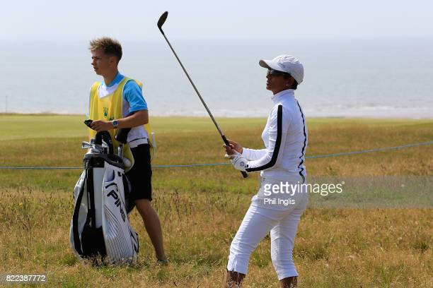 Naga Munchetty in action during the ProAm ahead of The Senior Tour Open Championship played at Royal Porthcawl Golf Club on July 25 2017 in Bridgend...