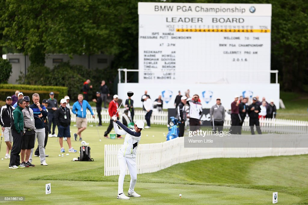 Naga Munchetty tees off during the Pro-Am prior to the BMW PGA Championship at Wentworth on May 25, 2016 in Virginia Water, England.