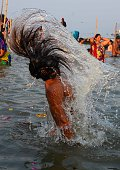 Naga Sadhu taking holydip on the occasion of 'Maghi Purnima' at Sangam during one month long Magh Mela festival