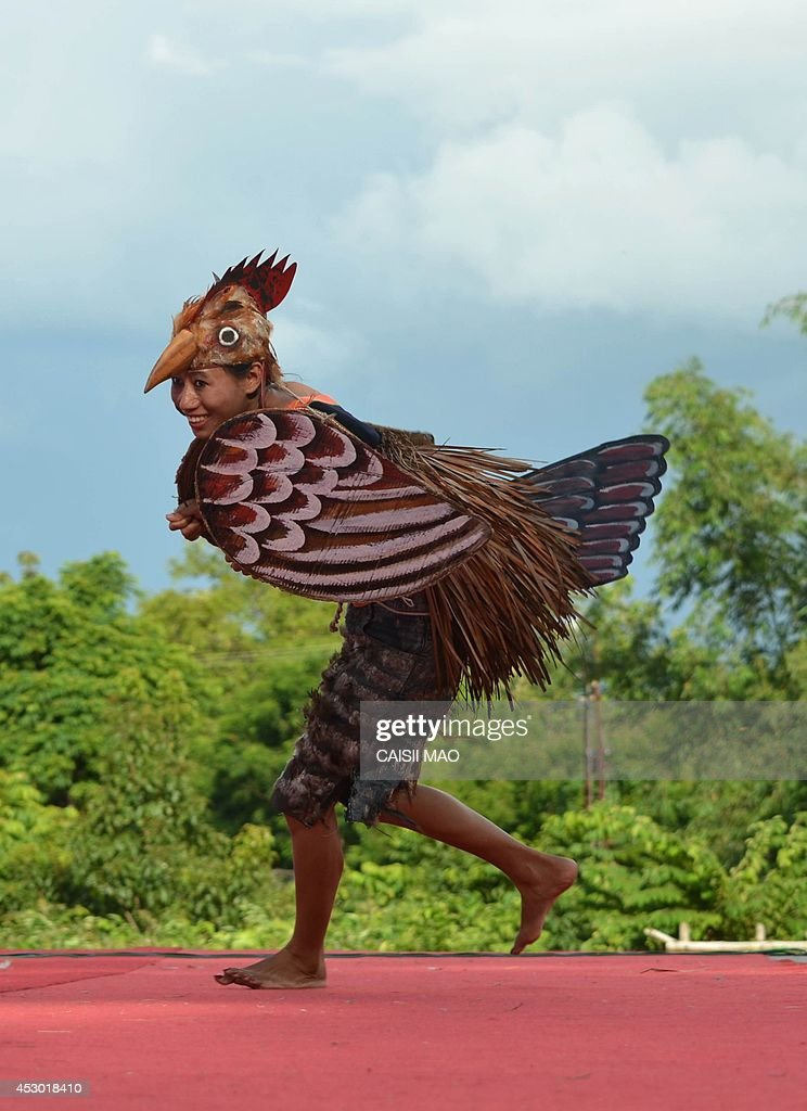 A Naga tribesman performs a 'Chicken dance' during the Ao Naga Tsungremmong festival at Diphupar in Dimapur in the north eastern state of Nagaland on August 1, 2014. The Tsungremmong festival, celebrated by the Ao Nagas, is a thanksgiving festival invoking the blessing of God and an abundant harvest after the completion of seed sowing. AFP PHOTO/ Caisii Mao