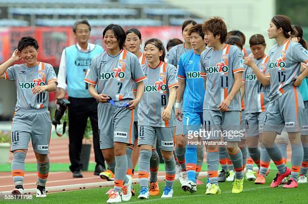 AC Nagano Parceiro players celebrate their 10 win in the Nadeshiko League match between Urawa Red Diamonds Ladies and AC Nagano Parceiro Ladies at...