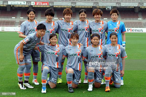AC Nagano Parceiro players line up for the team photos prior to the Nadeshiko League match between Urawa Red Diamonds Ladies and AC Nagano Parceiro...