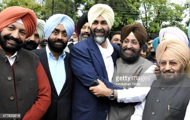 MLA SAS Nagar Balbir Sidhu PPP chief Manpreet Badal PPCC president Pratap Singh Bajwa and Senior Punjab Congress leader Lal Singh showing solidarity...