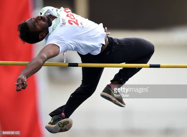 Nagarajego Hosanagara of India competes in Men's High Jump final during the 9th Fazza International IPC Athletics Grand Prix Competition World Para...