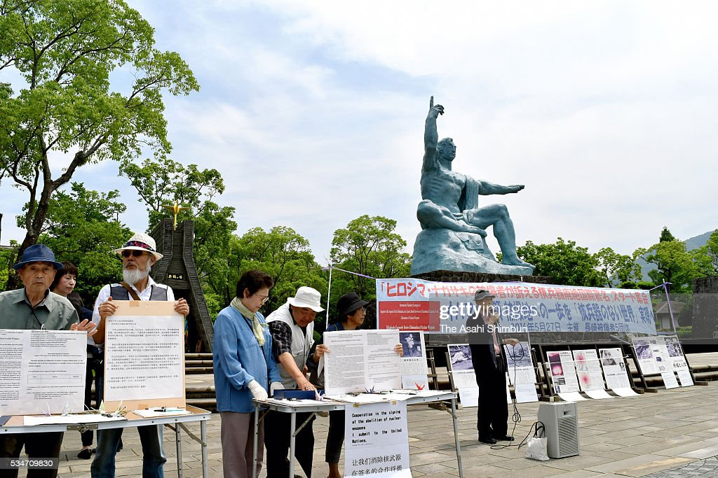 Nagasaki A-bomb survivors and family members of the victims call for signatures to promote nuclear disarmament at the Nagasaki Peace Park on May 27, 2016 in Nagasaki, Japan.