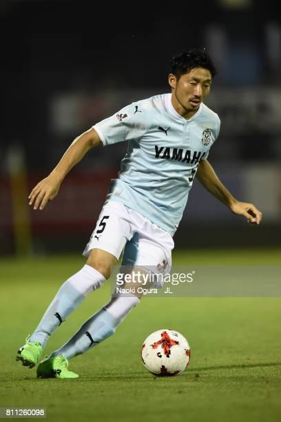Nagisa Sakurauchi of Jubilo Iwata in action during the JLeague J1 match between Jubilo Iwata and Ventforet Kofu at Yamaha Stadium on July 8 2017 in...