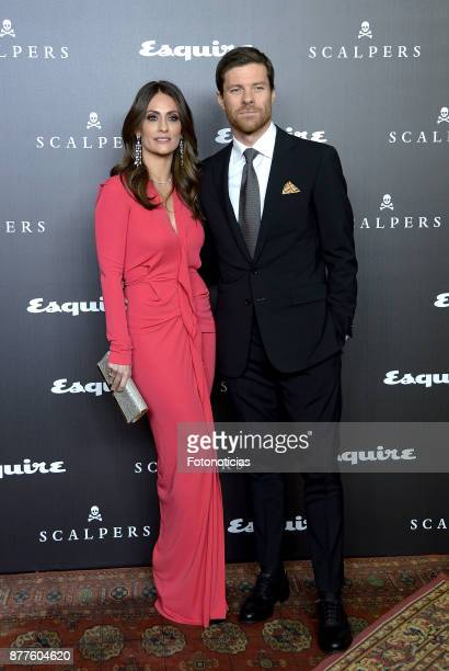 Nagore Aramburu and Xabi Alonso attend Esquire and Scalpers 10th anniversary party at the Palacio de Santa Coloma on November 22 2017 in Madrid Spain