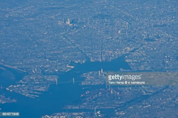 Nagoya city, daytime aerial view from airplane