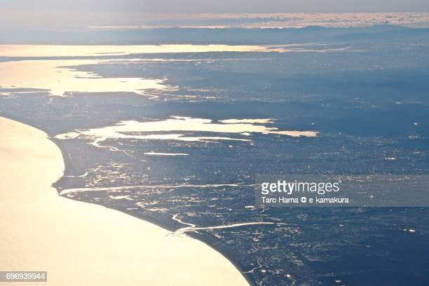 Nagoya city, Hamana Lake, Tenryu River and Pacific ocean sunset time aerial view from airplane