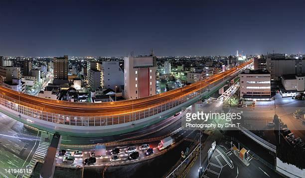 Nagoya city night lights panorama
