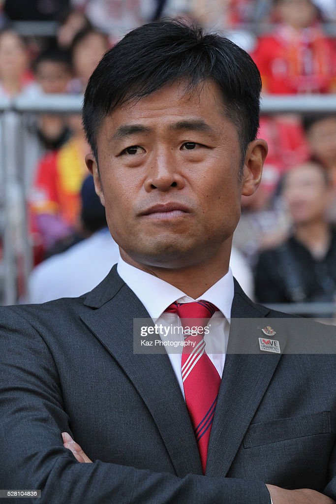 Nagoya Grampus head coach Takafumi Ogura looks on prior to the J.League match between Nagoya Grampus and Yokohama F.Marinos at the Toyota Stadium on May 4, 2016 in Toyota, Aichi, Japan.