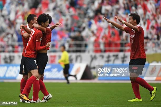 Nagoya Grampus players celebrate their 32 victory in the JLeague J2 match between Nagoya Grampus and Shonan Bellmare at Paroma Mizuho Stadium on...