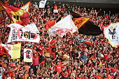 Nagoya Grampus supporters celebrate their win over Sanfrecce Hiroshima during the JLeague match between Nagoya Grampus anbd Sanfrecce Hiroshima at...