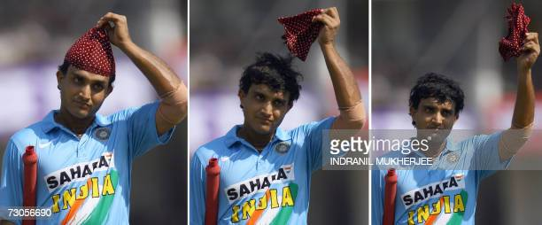 A combo image of Indian cricketer Sourav Ganguly shows him removing his bandana and waving to the crowd as he walks back to pavillion during the...