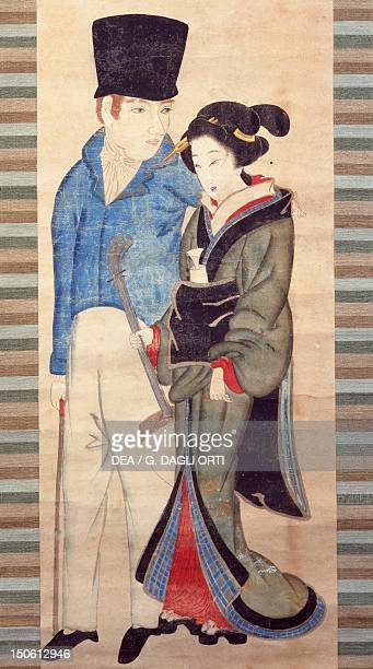 Nagsaki girl with young Dutchman ca 1820 detail of a painting in kakemono format Japanese civilization Edo period